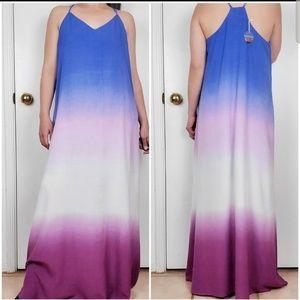 PINKBLUSH OMBRE BLUE MULTI RAINBOW DRESS SZ L